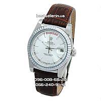 Часы Rolex Day-Date 37mm (механика) Silver/Brown/White. Класс: ААА.