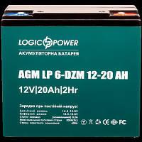 Аккумулятор тяговый 12V 20Ah LogicPower LP 6-DZM-20 (под винтик) 181х77х167 мм