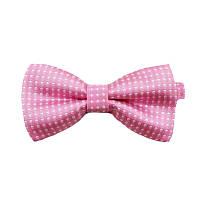 Детская стильная жаккардовая бабочка № 3 розовая в белый горох