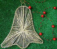 Новорічна прикраса дзвоник золотий 19*20 см Новогоднее украшение звонок золотой