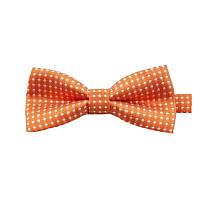 Детская стильная жаккардовая бабочка № 5 оранжевая в белый горох