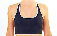 Топ для фитнеса и йоги  (лайкра, M-L-40-48, черный-серый)
