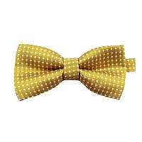 Детская стильная жаккардовая бабочка № 6 золотая в белый горох, фото 1