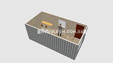 Мобильный офис (5.5 х 3 м.) на склад, на основе цельно-сварного металлокаркаса., фото 2