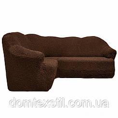 Чехол на угловой диван без юбки шоколадный
