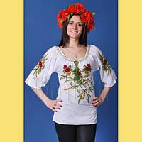Легка літня жіноча батистова біла блуза з яскравою вишивкою маками та  бісерним оздобленням №708 b2329085806f7