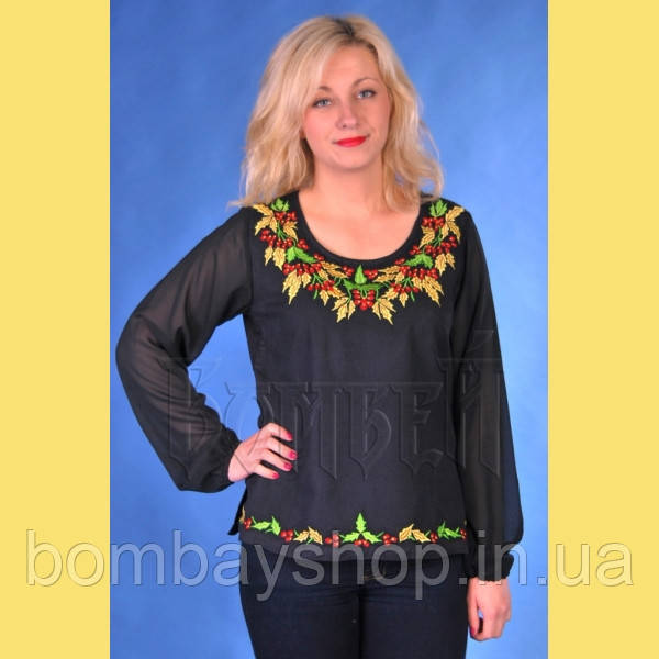 Легка чорна жіноча полотняна блуза з шифоновими рукавами і вишивкою калиною  №1226 44 6daffd50cebfe
