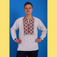 Біла чоловіча полотняна сорочка з яскравою вишивкою № 6118-1 62