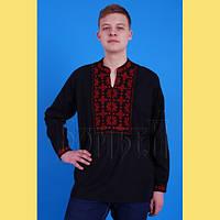 Чорна чоловіча полотняна сорочка з червоною вишивкою № 6118-3 54