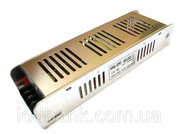 Блок живлення для світлодіодної стрічки 12в 250 Вт MS-250-12 вузький