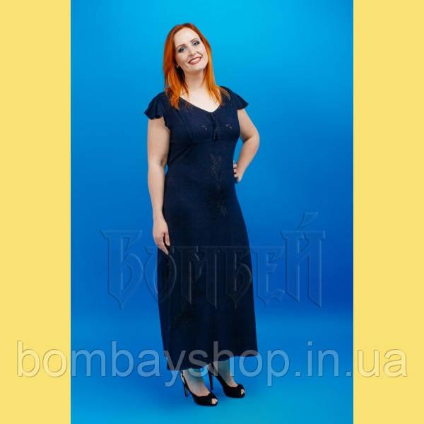 Стильна жіноча літня темно-синя штапельна сукня з вишивкою №702-1 50 ... a923c03b17d00