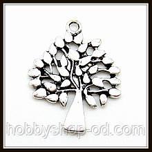 """Метав. підвіска """"дерево"""" срібло (2,8х2,2 см) 6 шт в уп."""