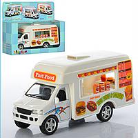 Детская Инерционная Машина Автобус Fast Food KS 5257 W Кафе на колесах, Металлическая машинка Автобус Фаст Фуд