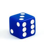 Кубик с точками d6 16 мм (прямые углы) (синий)  (Dice Straight Corners d6 Opaque 16 mm)