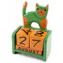 Настольный календарь деревянный Кот зеленый