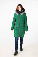 Женская зимняя куртка на силиконе недорого (зеленая)