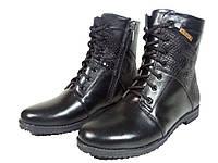 Ботинки женские на меху черные на шнуровке Нелли