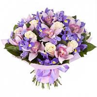 Лиловый букет из роз ,орхидей и ирисов.