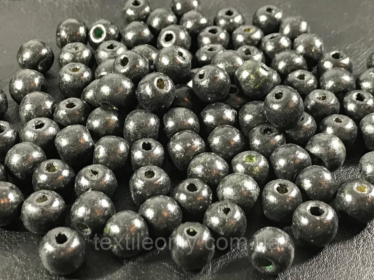 Деревянные бусины черные упаковка 100 шт