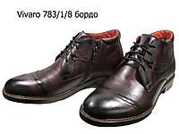 Ботинки мужские зимние  натуральная кожа бордовые на молнии и шнуровке (783/1/8)