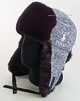 Мужская шапка-ушанка со спортивным логотипом