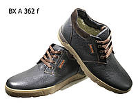 Ботинки мужские зимние  натуральная кожа черные на шнуровке (А 362), фото 1