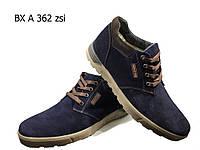 Ботинки мужские зимние  натуральная замша синие на шнуровке (А 362), фото 1