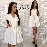 Белое короткое платье с длинным рукавом тв-11003-1