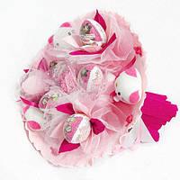 Букет из игрушек Котики 5 с Киндер Сюрприз розовый 5301