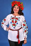 Легка біла жіноча батистова вишиванка з яскравою вишивкою маками та волошками №703