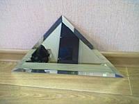 """Плитка зеркальная """"серебро"""" треугольник 200мм фацет 15мм.зеркальная плитка с фацетом.плитка треугольная."""