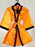 Яркий домашний атласный халат, фото 1
