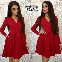 Красное короткое платье с длинным рукавом тв-11003-4