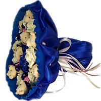Букет из мягких игрушек Мишки 9 в синем