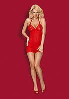Комплект эротического белья пеньюар Obsessive 822-CHE-3 CHEMISE Красный