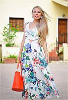 Женское летнее яркое длинное платье, сарафан с кружевом, Испания