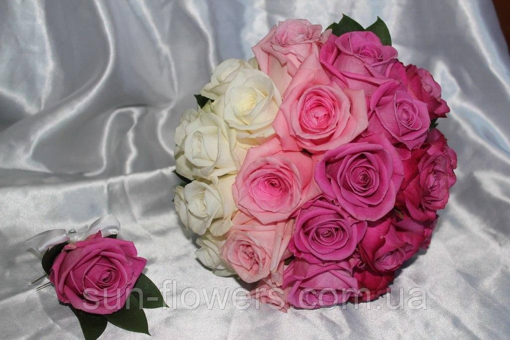 Букет невесты бело-розовый