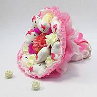 Букет из игрушек Котики 9 розово-малиновый