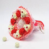Букет из игрушек Мишки 5 коралловый