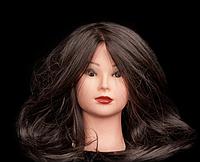 Учебная голова 100% натуральных волос, длина75-80,тёмный шатен.