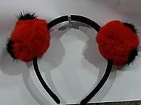 69 Меховые уши на ободке. Обручи для волос. Зимние аксессуары для волос