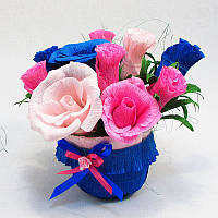 Букет из конфет Розы 11 розово-синий в горшочке