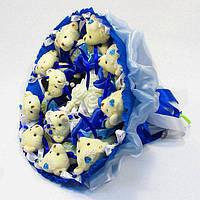 Букет из игрушек Мишки 11 синий свадебный 5268