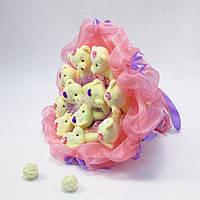 Букет из игрушек Мишки 11 розово-сиреневый 5201