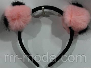 Розовые меховые ушки на ободке. Обручи для волос. Зимние аксессуары для волос 72