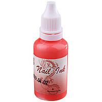Краска для Аэрографа Nail Ink (Fluorescent Scarlet)
