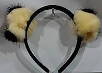 Бежевые меховые ушки на ободке. Обручи для волос. Зимние аксессуары для волос 73