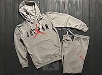 Весенний костюм спортивный Jordan с капюшоном серый топ реплика