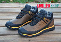 Мужские зимние кожаные ботинки Ecco Natural Motion Olive Winter 40,41,42,43,44р