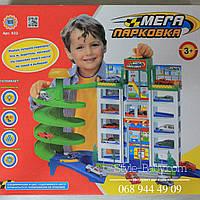 Большой детский Гараж 6 этажей, 4машинки, в кор-ке, 39,5-34-5-10см